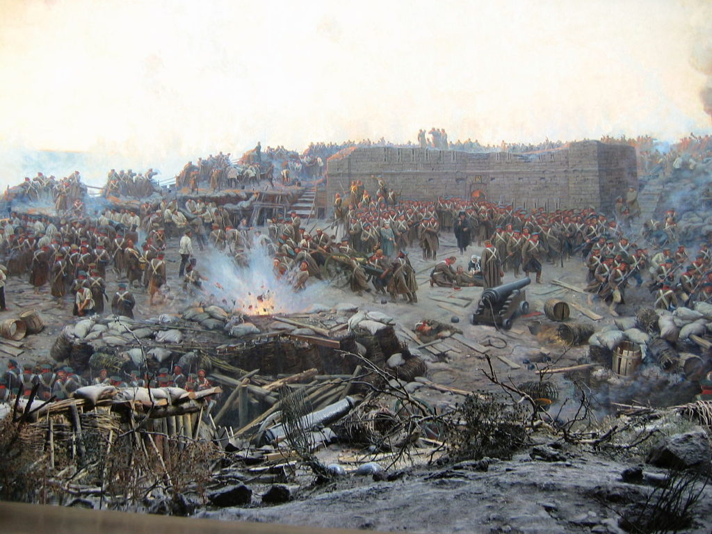 Diorama of the siege of Sevastopol and painting of Roubault