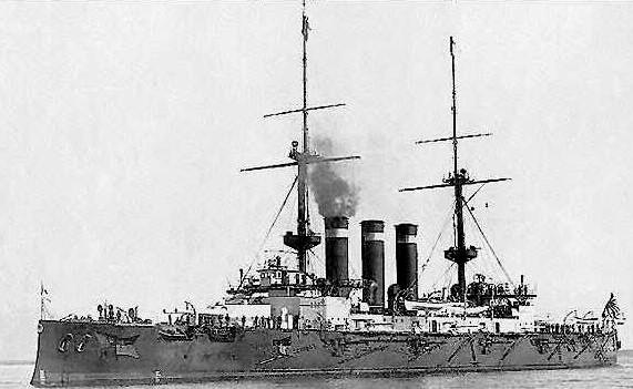 Japanese Battleships Hatsuse in harbor