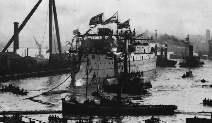 Shikishima launching at Blackwall, 1898