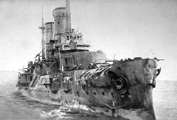 Battle ships slava badly damaged