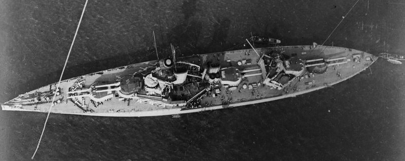 HMS King Georges V in the firth of Forth, aerial view