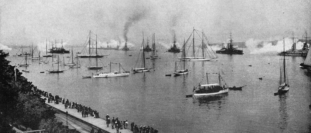 Three 2nd squadron battleships saluting the Kaiser at Kiel naval review, for the opening of the canal, 24 june 1914