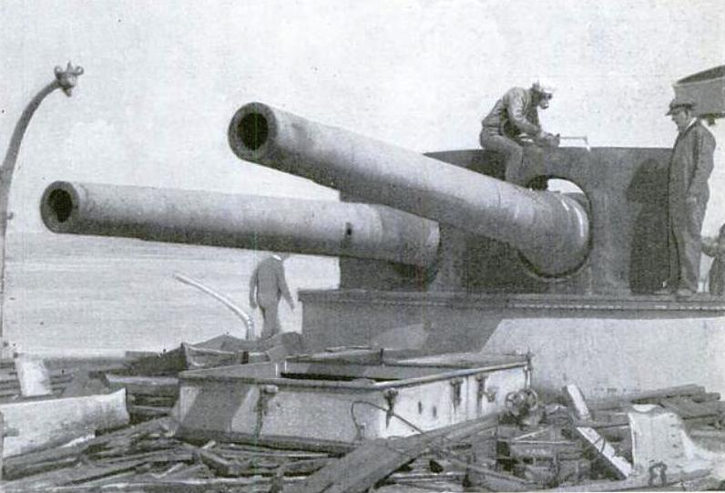 Closeup of the 8-in turret dismantled in 1921