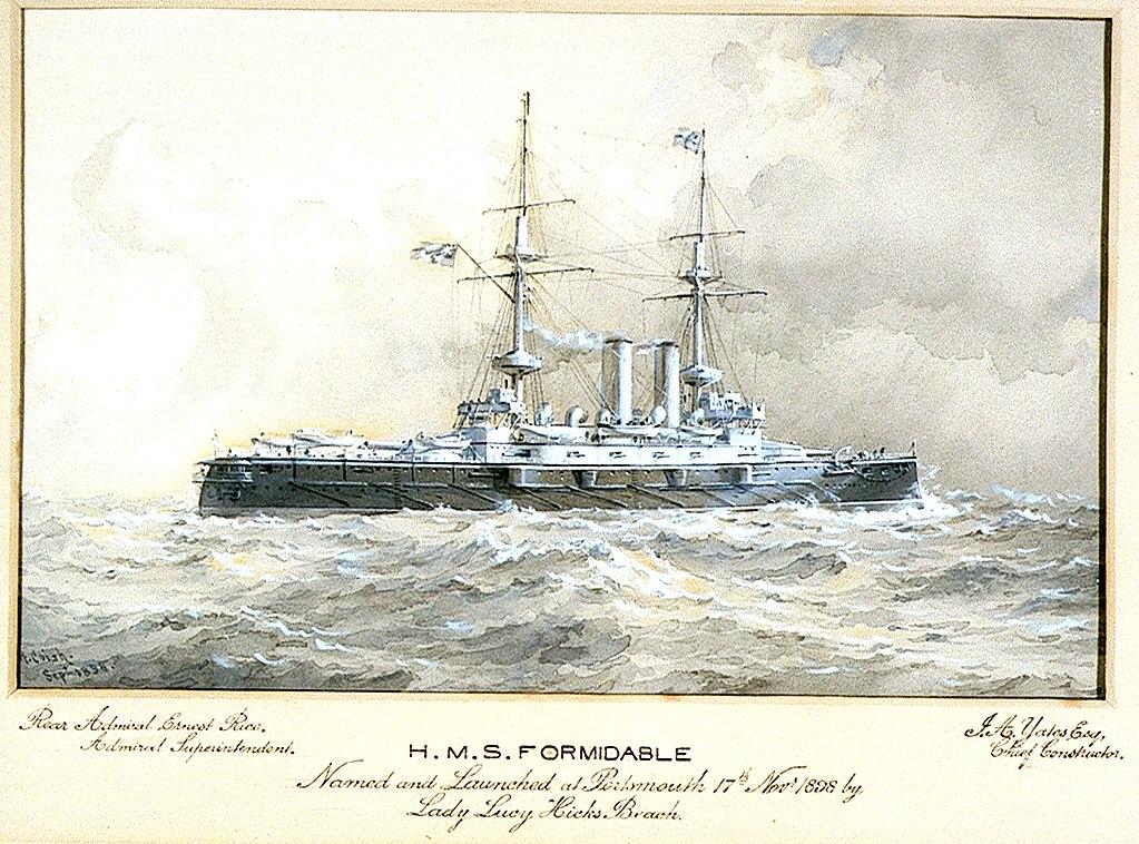 Aquarel of HMS Formidable