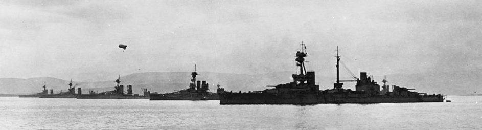 HMS Agincourt and battleships of the 2nd squadron, Grand Fleet at Scapa Flow in 1918