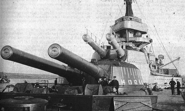 Detail of HMS Ajax main guns