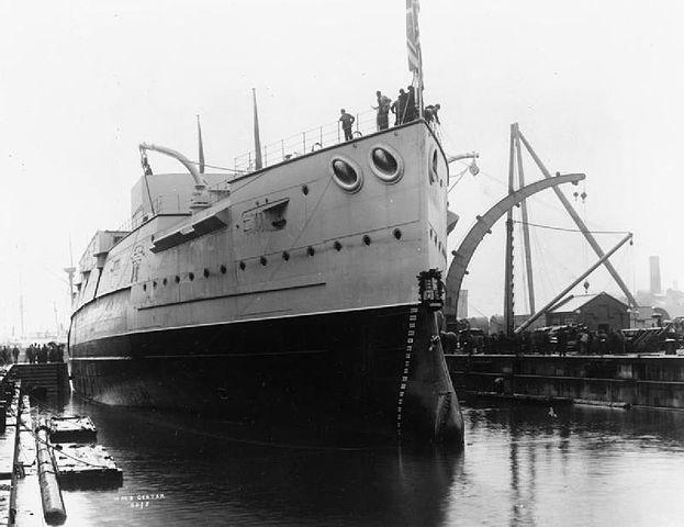 HMS Caesar launching