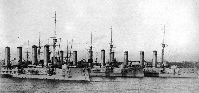 The first Cruiser brigade of the baltic fleet: Bayan, Makaroff and Pallada at anchor.