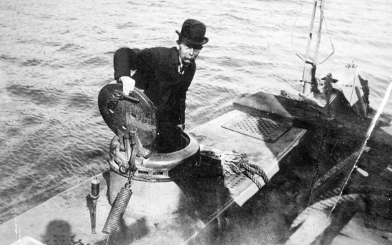 John P Holland emerging from his first submarine
