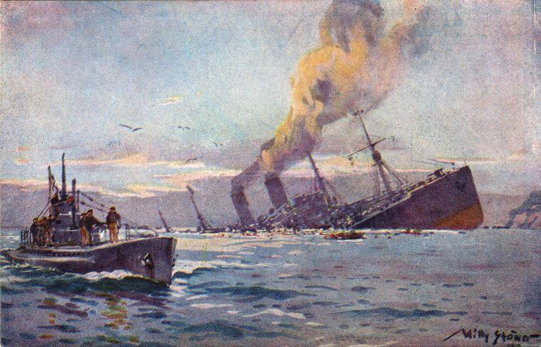 U boat sinking a troop transport by Willy Stöwer