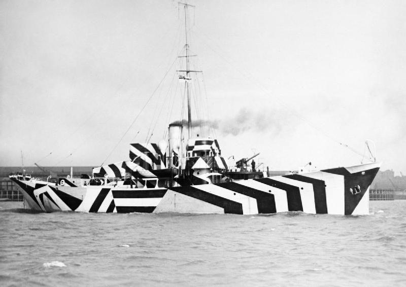 HMS kildangan, with a razzle-dazzle camouflage