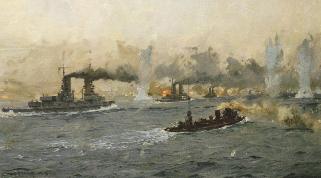 painting of the battlefield at Jutland
