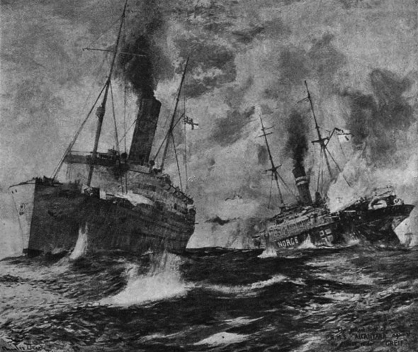 SMS Greif duelling with HMS Alcantara