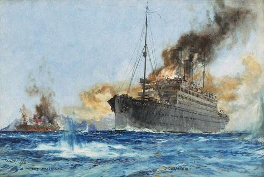 Carmania sinking Cap Trafalgar off Trinidad, September 14, 1914