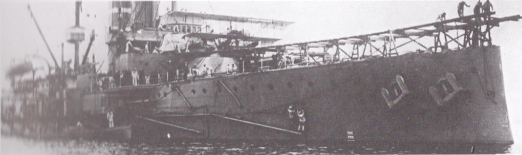 HMS Hibernia operating a Short S28 from a forward test ramp
