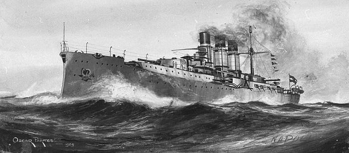 Italian Battleship Napoli drawing circa 1909