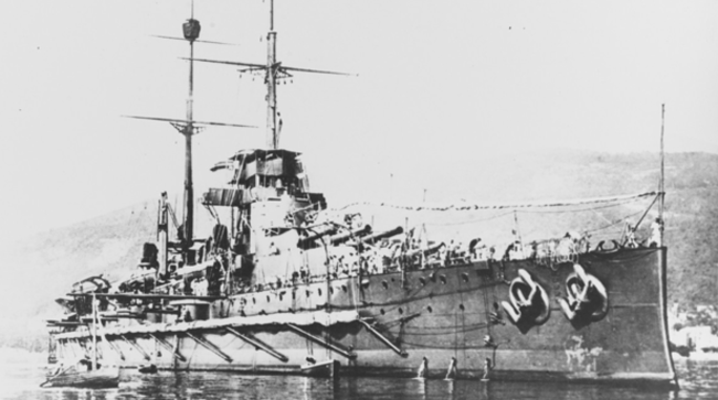 SMS Tegetthoff at anchor