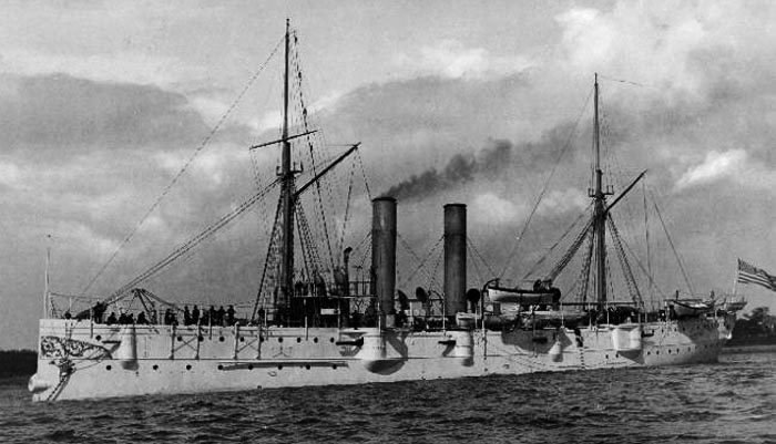 USS Detroit, montgomery class cruisers, at anchor