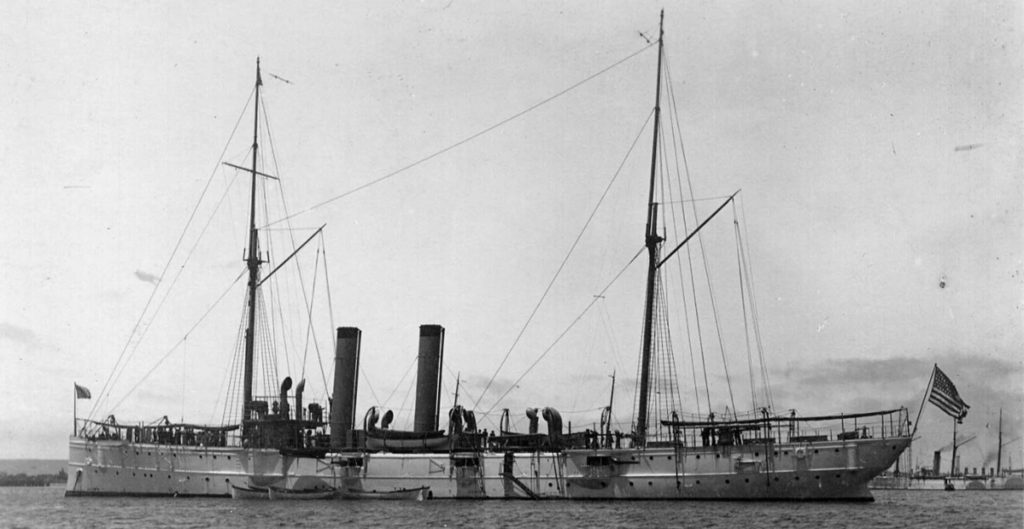 USS Marblehead, montgomery class cruisers, at anchor