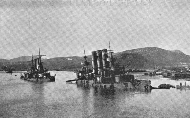 The siege, December 1904 Russian ships sunk