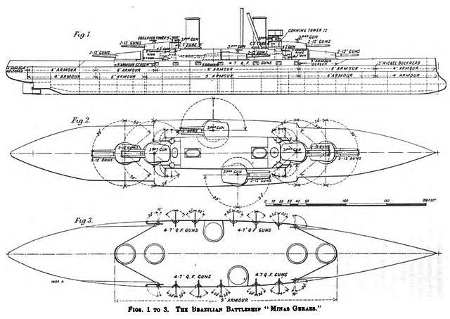 Line drawing of the Minas Gerais class