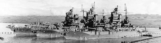 The New Mexico, Idaho and Mississippi at Pearl Harbor in December 1943.