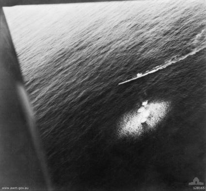 U26 dodging grenades from RAAF Short Sunderland