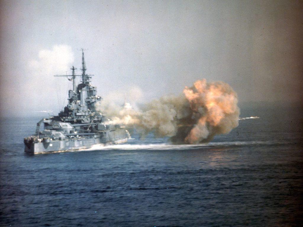 USS Idaho (BB-42) shelling Okinawa