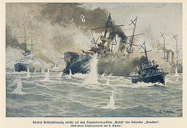 Painting the battle of Tushima strait 1905