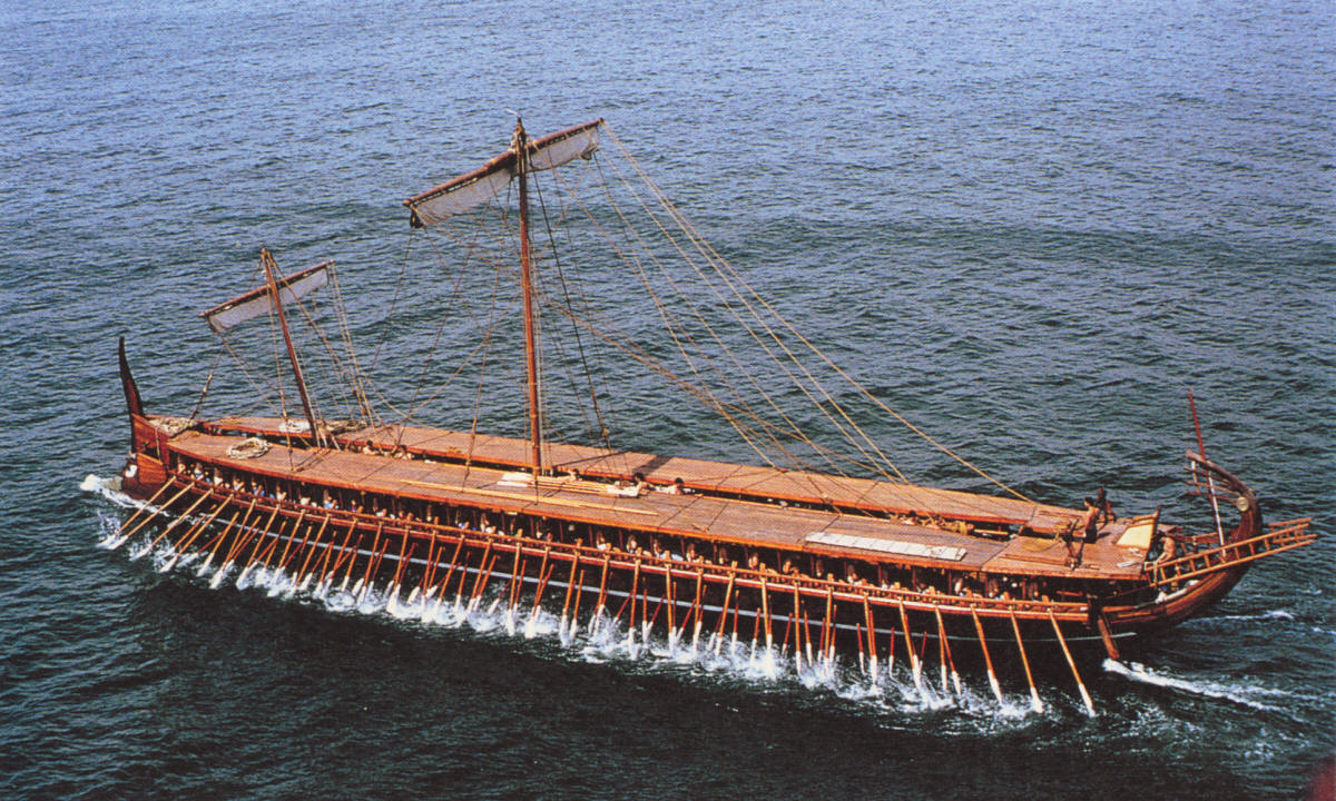 Splendid aerial photo of the Olympias on sea trials