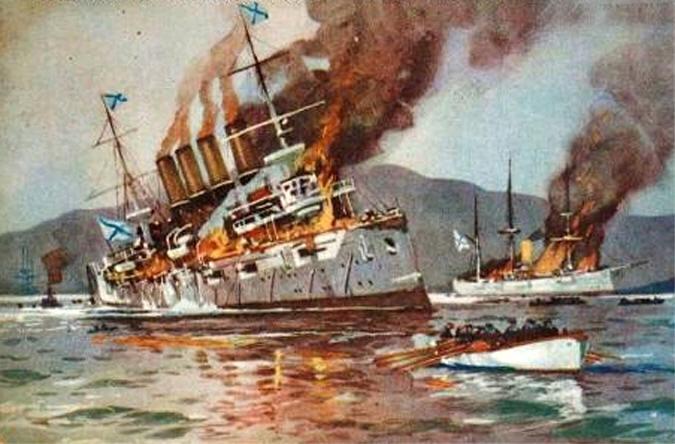 Batle of the yellow sea, Varyag damaged