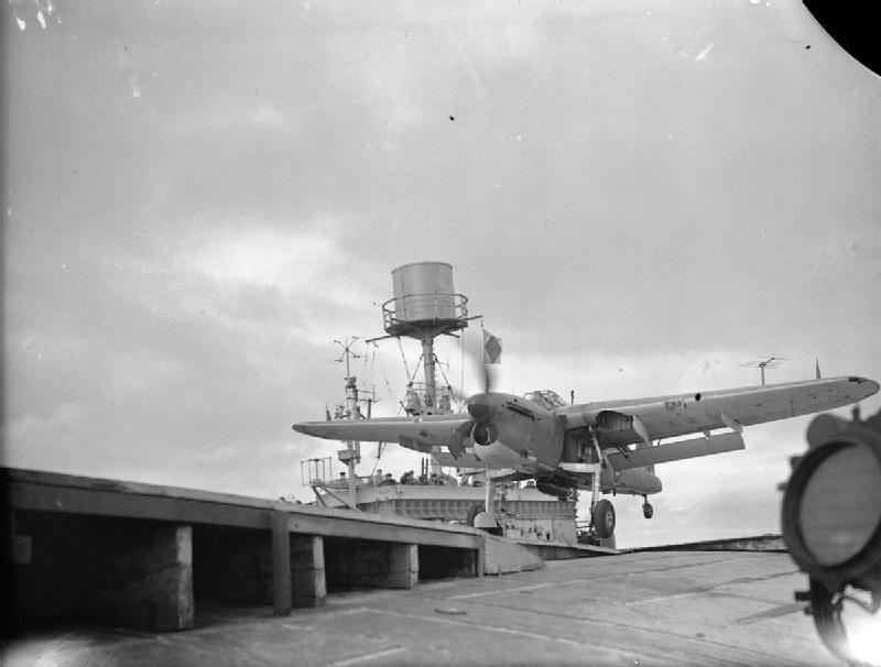 830 squadron's Barracuda taking off during Operation Mscot 17 July 1944
