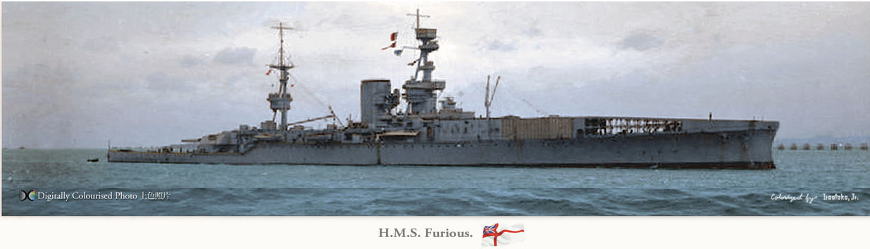 HMS Furious after her second refit in 1918 - colored by Hirootoko Jr.