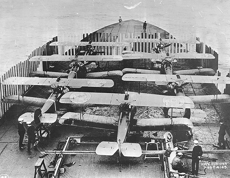 Sopwith Camels stacked in front of HMS Furious in preparation for Tondern raid
