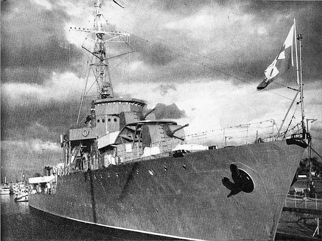ORP Burza as a museum ship in the 1960s