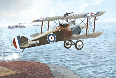 Camel F2F.1 taking off from HMS Furious