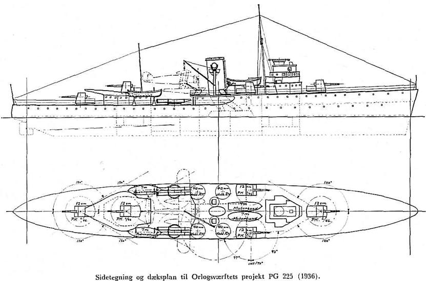 Danish cruiser prject PPG 225 1936
