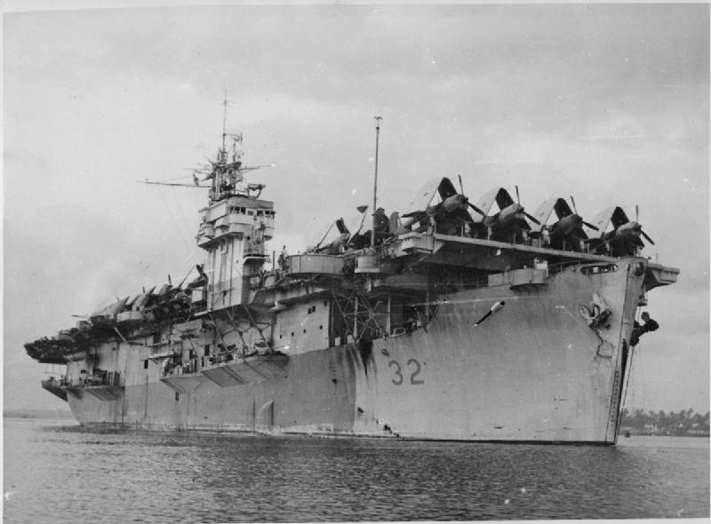 HMS Chaser loaded with Corsairs to be delivered in the Far East