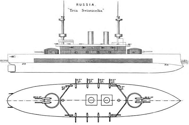Brasseys diagram of the Tri Sviatitelia