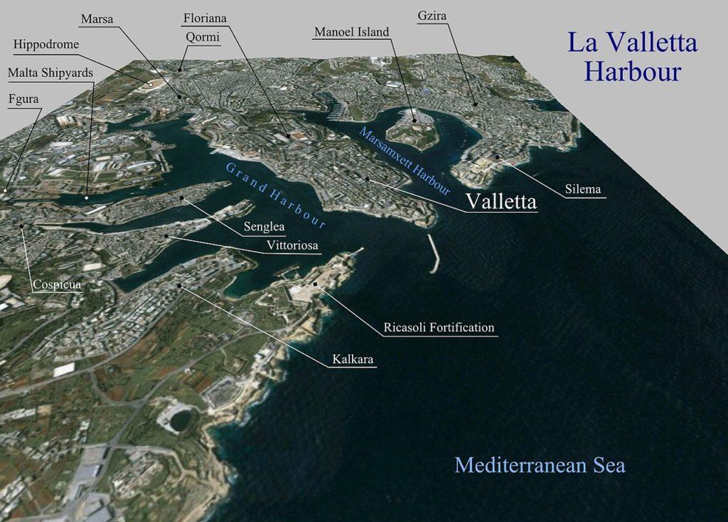 3d view of Grand Harbour - La Valette