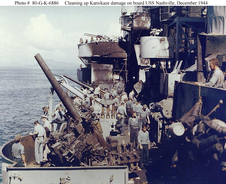 USS Nashville 5-in guns