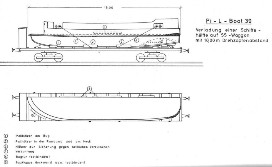 Blueprint of the Pionierlandungsboot 39 and rail carriage