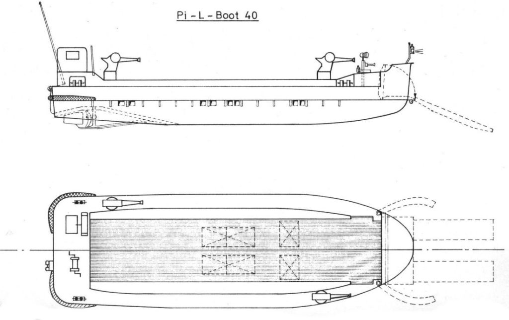 Blueprint, 2 views of the Pionierlandungsboot 40