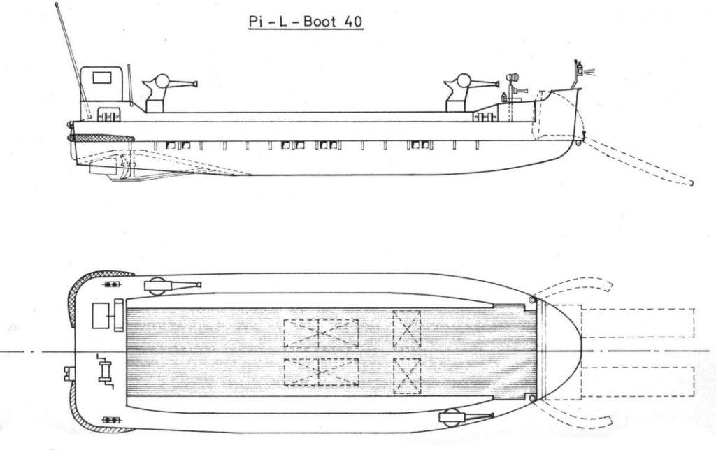 Blueprint, 2 views of the Pionierlandungsboot 40
