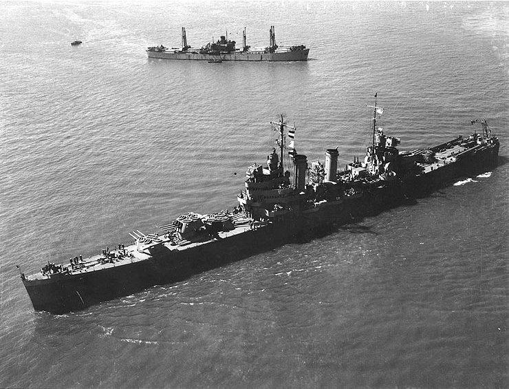 USS Philadelphia off New York 26 April 1943, front view