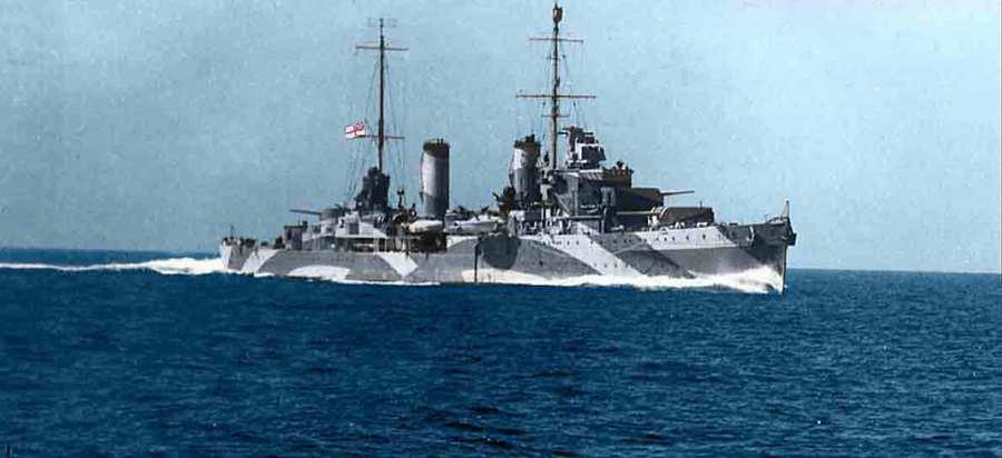 Rare color photo of HMAS Perth, date unknown