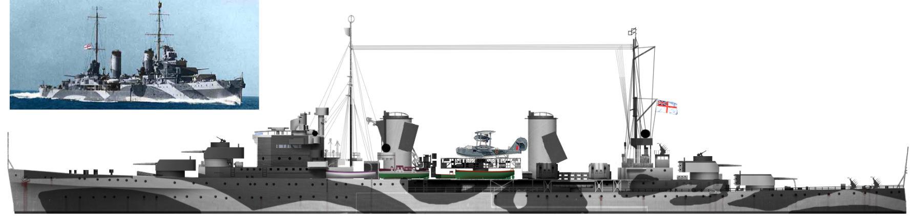 Author's profile of HMAS Perth in 1941