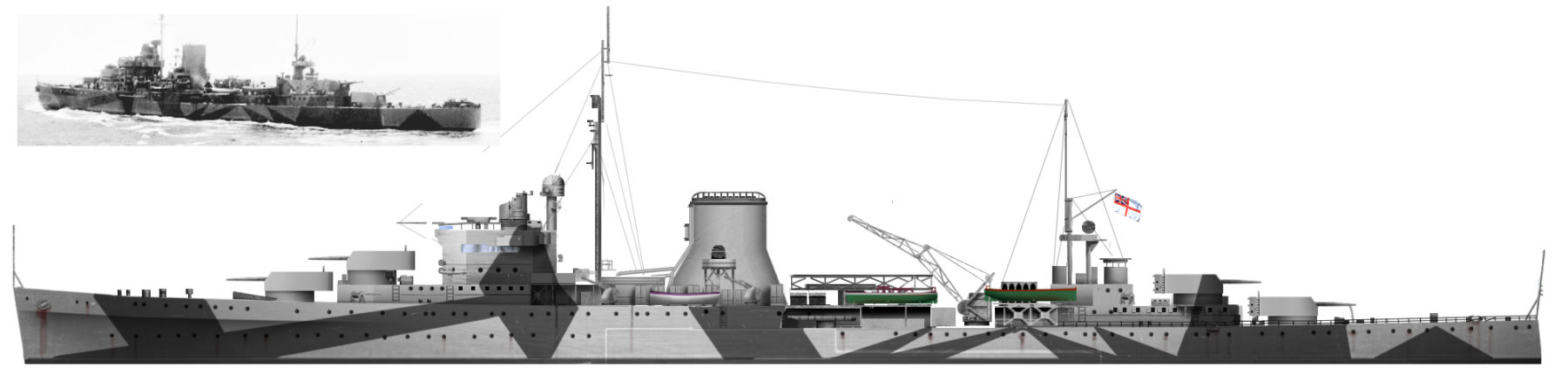 HMS leander in 1942 - Author's HD illustration