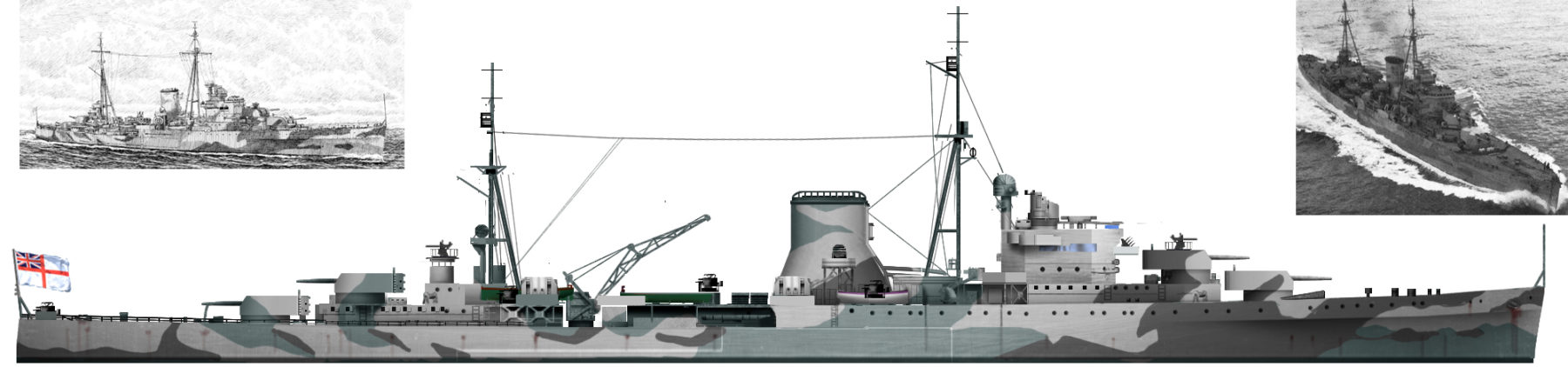 Authors HD illustration of HMS neptune in 1944