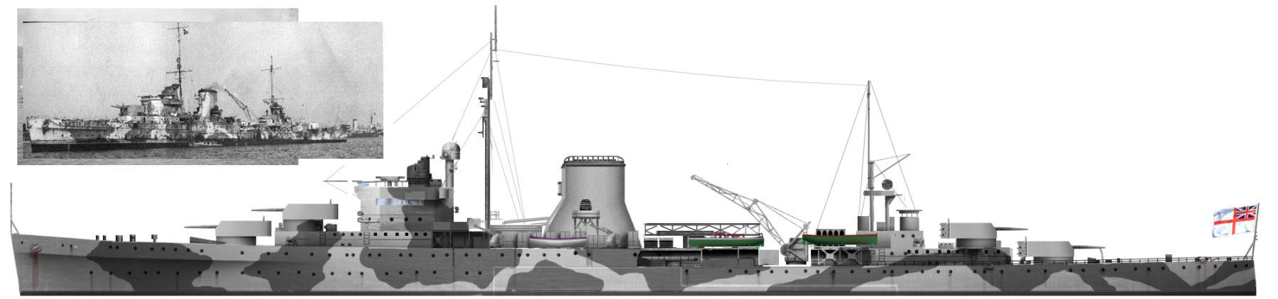 HMS Orion in Crete, 1941 - Author's HD Illustration